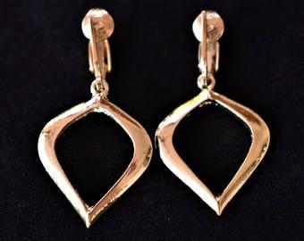 "Vintage Geometric Dangle Earrings Clip On Gold Tone Minimalist Boho Retro Costume Jewelry 1.75"""