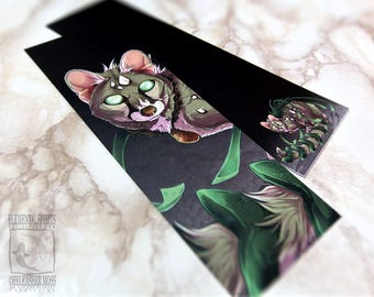 Card Genet Bookmark Wildlife Green Earth Spirit Animal Cute Cat Lover Themed Gifts Ideas Page Marker Planner Digital Art Feline Black Bold