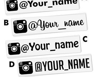 "4x INSTAGRAM 8"" (20cm) user name Personalized Vinyl Decal Lettering Sticker, promo Instadecal, custom instagram decal username car, window"