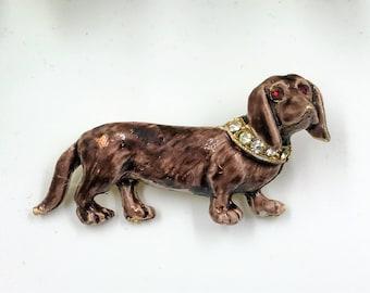 A Delightful  Vintage Enamel Daschund, Sausage Dog  Brooch / Pin
