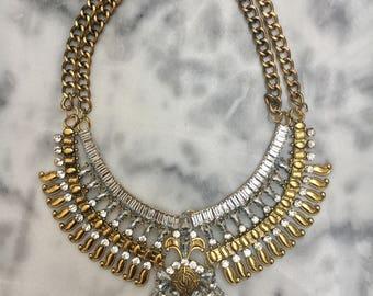 BOHO GOLD Crystal Bib Statement Collar Necklace