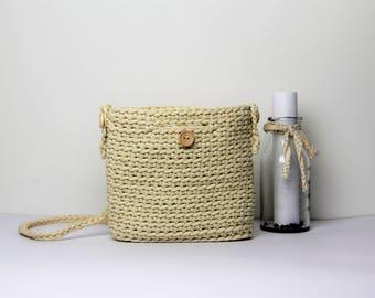 Creamy white crochet bag, white beach bag, creamy white summer bag, knit bag, Rope bag, white bag, Summer bag