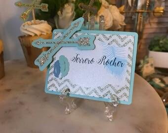 4 blue gold boho dessert labels, boho candy buffet labels, gold babyshower candy tags
