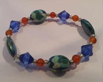 Blue and Amber Coloured Stretchy Bracelet