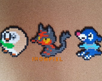 Figurines/Magnet/door-key/Deco bag Pokemon Gen 7 Alòla Starters Brindibou Flamiaou, Otaquin [Pixel Art Hama beads.