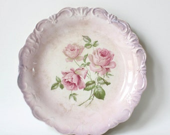 Antique Dresden China Plate Roses Scalloped Pink Vintage