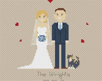 Custom wedding cross stitch pattern Wedding gift for bride Anniversary gift Wedding portrait Cross stitch family portrait Wedding gift
