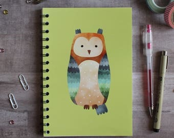 NOTEBOOK. A5 Cute Owl Spiral Notebook. Soft 300 gsm Card Cover. 120 lined pages. Matte lamination pleasant to the touch.
