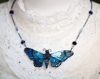 Butterfly Necklace Blue/Silver 8, 3cm