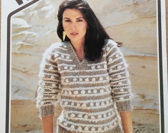 Ladies Bobble Jumper Knitting Pattern, Wendy Knitting Pattern, Ladies V Neck Sweater Pattern, Ladies Striped Bobble Jumper Pattern, No. 2027