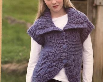 Girls Waistcoat and Cardigan Knitting Pattern, Stylecraft Knitting Pattern, Childrens Cable Cardigan, Childrens Cable Waistcoat, No. 8456