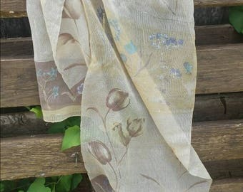 Floral Liz Claiborne scarf from the 70's/vintage scarf/long scarf/Liz Claiborne/vintage scarf/vintage neck scarf/neck scarf