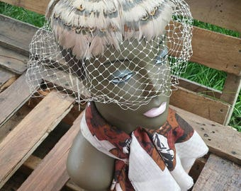 Feather hat with netting/vintage hat/vintage headpiece/costume hat/costume head piece/vintage feather hat