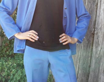 Blue 60's suit outfit/alamode of California/union made suit/60's suit outfit/vintage 60's outfit/60's costume/costume wear/hipster costume/