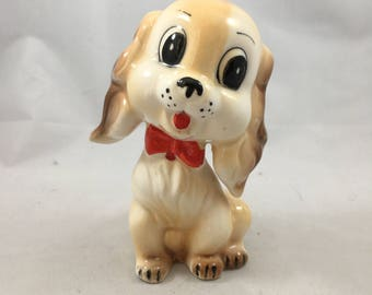 Vintage Commodore Japan Tan Dog With Red Bowtie Salt or Pepper Shaker - Good for Replacement!