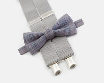 Beach wedding ring bearer outfit Light brown chekered bowtie & light gray suspenders Boys bow tie and suspenders