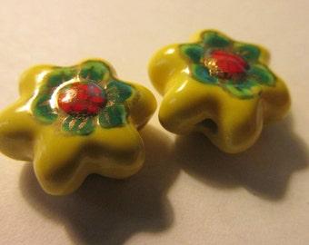 """Ceramic Hand-Painted Yellow-Red-Green Flower Beads, 3/4"""", Set of 2"""