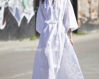 White linen embroidered dress vyshyvanka. Ukrainian vyshyvanka dress, mexican dress, Kaftan, Abaya, Caftan. Free Shipping Boho style