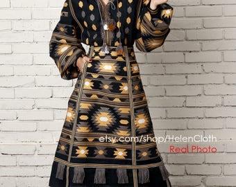 Vyshyvanka Embroidered Midi Skirt Blouse Mexican Bohemian Linen Boho Blouse Style Ukrainian Clothing For Women Geometric Embroidery rty