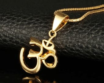 18K Gold Plated Om 'Aum' Necklace ~ Jewellery For Peace Love Meditation Yoga Reiki Healing ~ In Elegant Gift Box