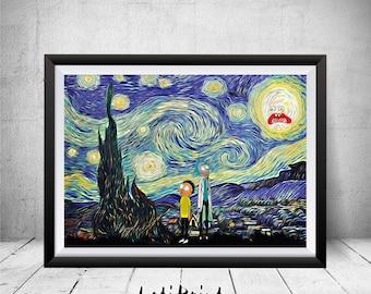 Starry Night Rick and Morty Print, Parody Art, Rick and Morty Art Print, Rick and Morty Poster, Rick Morty Wall Art, Rick Morty Artwork, Art