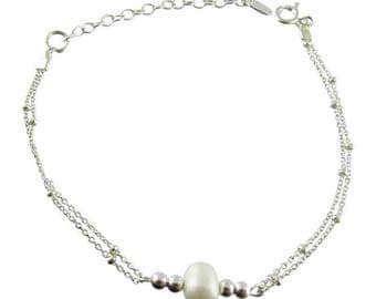 Silver bracelet freshwater pearls white (made in France)