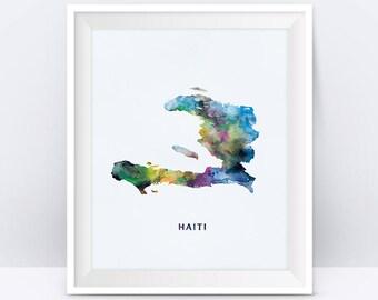 Haiti Map, Haiti Watercolor Map, Port Au Print, Haiti Poster, Painting, Gift, Map Art, Wall Art, Digital Download