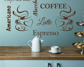 TWO COFFEE CUPS x 2 Cappuccino Espresso Latte Americano Cafe Au Lait Kitchen Diner Cafe Home Vinyl Matt Wall Sticker Art Decal *20 colours*