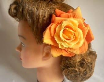 Rose hair flower clip, handmade, orange hair flower, gift for her, vintage style, large hair flower, large rose, 40s style, large rose,