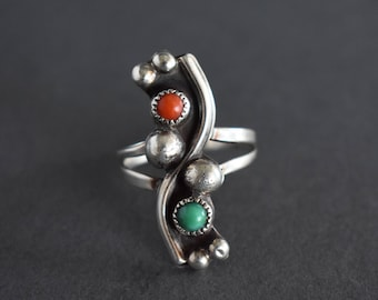 Vintage Sterling Silver Statement Ring Southwestern Modernist Turquoise Coral Size 8.25