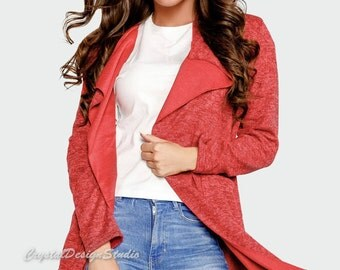 Blue Womens asymmetric cardigan Oversized Cardigan plus size Knitted Red cardigan king size  Knit Cardigan Grey Womens Knit Jacket