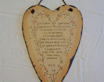vintage heart shaped slate wall hanging plaque sign - friendship chalkboard bible love verse - religion corinthians home decor sculpture art