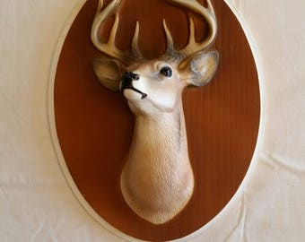 "rare 1945 buck deer ceramic oval wall hanging plaque 8""x10"" by ornamental arts & crafts - hand painted taxidermy man cave trophy picture 3d"