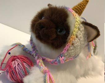Crochet Rainbow Unicorn Cat Hat