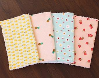 The Tutti Frutti Bundle, burp cloth set, burp cloths, baby girl burp cloths, fruit nursery, fruit baby, pineapple, pear, strawberry, apple