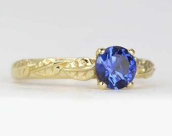 Blue Sapphire Engagement Ring, Gold Sapphire Ring, Sapphire Leaves Engagement Ring, Antique Engagement Ring, Anniversary Ring, Promise Ring