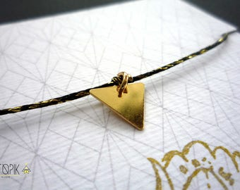 BRACELET * triangle * black and gold wire