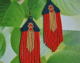Beaded red gold blue earrings, seed bead earrings, modern earrings, boho earrings, fringe earrings, beadwork jewelry