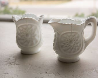 Milk Glass Sugar and Creamer, Mini