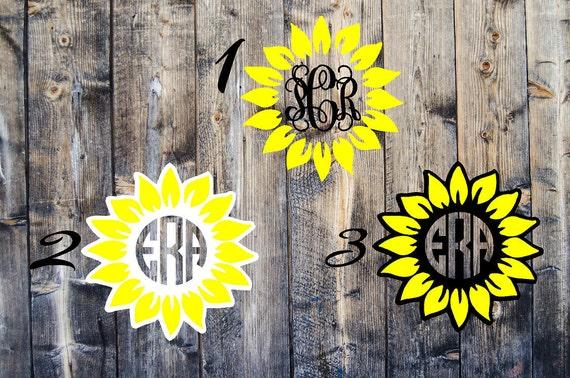 Download Sunflower monogram decal yeti cooler cup car tumbler