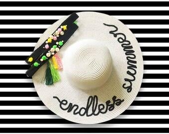 Endless Summer Hat | Pom Pom Beach Hat | Wide Brim Sun Hat | Personalized Gift | Summer Never Ends Hat | Summer Gift | Custom Sun Hat