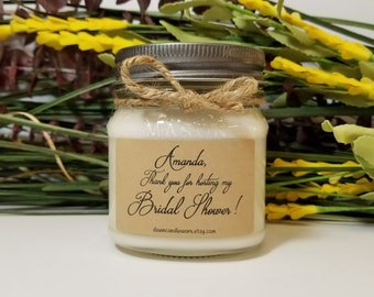 Bridal Shower Thank You Gift - Hostess Thank you Gift - 8oz Soy Candles Handmade - Hosting Gift - Thank You Candles - Personalized Candles