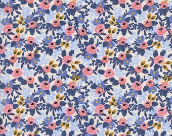 Rifle Paper Co Fabric Periwinkle  Rosa quilting fabric
