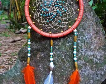 Decorative dreamcatcher. Macrame dreamcatcher. Crystal, wood dream catcher. Sacred geometry.