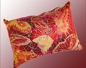 Red Yellow Throw Pillow  Butterfly Accent Pillow  Sofa or Settee Cushion  Bedroom Decor in Fall Colours  Butterflies Silk Painting Print