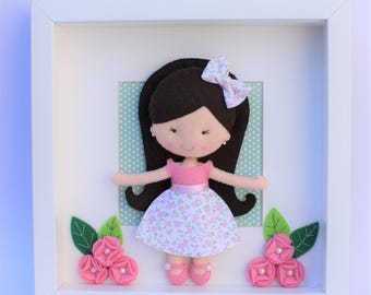 Child room decor: picture room girls, girl, decoration felt baby gift baby shower gift personalized,