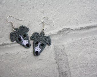 Sighthound Embroidered Earrings - Greyhound, Whippet, Lurcher, Dog, Dog Lover