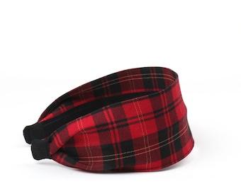 Red plaid headbands, wide headbands, headbands for winter, headbands for women, turban headband