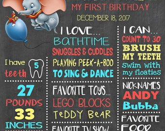 Dumbo Birthday Chalkboard Poster - Disney Flying Elephant Wall Art design - Birthday Party Poster Sign - Any Age