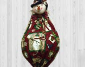Snowman Decor, grocery bag holder, winter wall art, holiday decor, shopping bag holder, Christmas hostess gift, Christmas house decoration